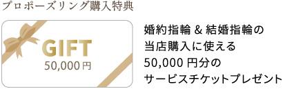 プロポーズリング購入特典 婚約指輪&結婚指輪の 当店購入に使える 50,000円分の サービスチケットプレゼント